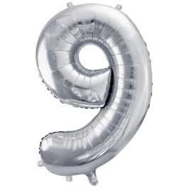 Luftballon aus Folie, Zahl 9, Silber