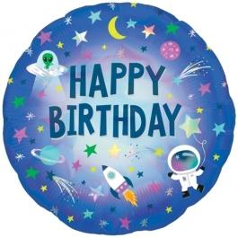 Irisierender Weltraum Geburtstags-Luftballon aus Folie, Outer Space mit Helium