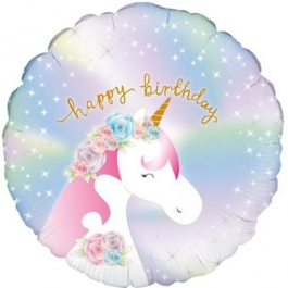 Happy Birthday Unicorn, holografischer Rundballo, heliumgefüllt