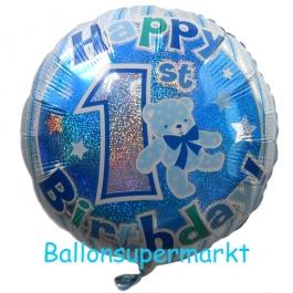 Luftballon Happy 1st Birthday, blau, holografisch