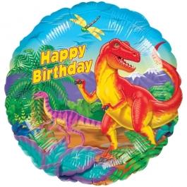 Geburtstags-Luftballon, Happy Birthday, Dinosaurier mit Helium