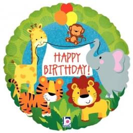 Geburtstags-Luftballon, Happy Birthday Jungle Animals mit Helium