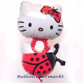 Hello Kitty Marienkäfer Luftballon. Großer Folienballon mit Ballongas-Helium