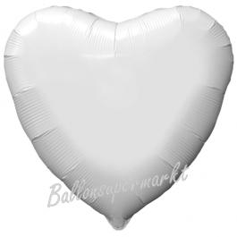 Herzluftballon aus Folie, Weiß, inklusive Helium