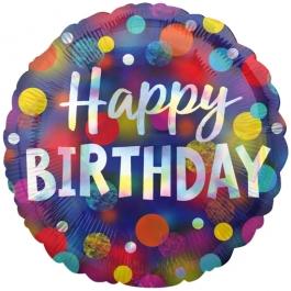 Happy Birthday Party Dots, glänzender Luftballon aus Folie mit Helium