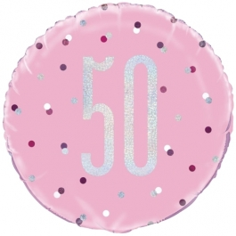 Luftballon aus Folie mit Helium, Pink & Silver Glitz Birthday 50, zum 50. Geburtstag