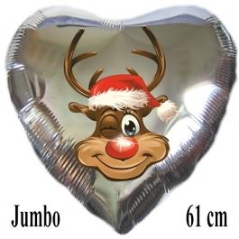 Jumbo Herzluftballon aus Folie, silber, Rudolph das Rentier mit Helium