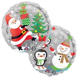 Folienballon Weihnachtsmann und Schneemann, ohne Helium/Ballongas