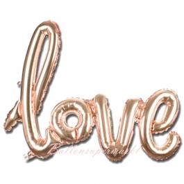 Love, roségold, Schriftzug, Folienballon zur Luftbefüllung