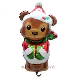 Weihnachtsbärchen, Folienballon zu Weihnachte und Nikolaus, inklusive Helium