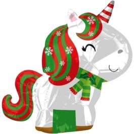 Weihnachts-Einhorn, Folienballon zu Weihnachte und Nikolaus, inklusive Helium