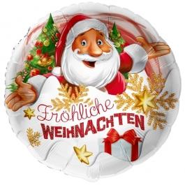 Folienballon Fröhliche Weihnachten Weihnachtsmann, ohne Helium/Ballongas
