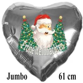 Jumbo Herzluftballon aus Folie, silber, Weihnachtsmann mit Weihnachtsbäumen, Frohe Weihnachten mit Helium