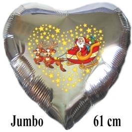 Jumbo Herzluftballon aus Folie, silber, Weihnachtsmann mit Schlitten und Rentieren mit Helium