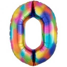 Zahlen Luftballon Zahl 0, Regenbogenfarben, Ballon aus Folie, Dekozahl ohne Helium