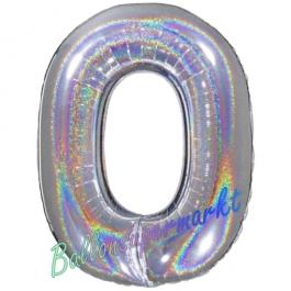 Zahlendekoration Zahl 0, holografisch, Silber, Folienballon Dekozahl ohne Helium