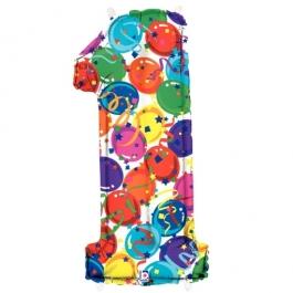 Zahlendekoration Zahl 1, bunt, Großer Luftballon aus Folie, Blau, 1 Meter hoch, Folienballon Dekozahl