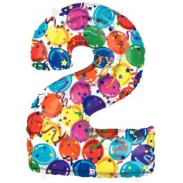 Zahlendekoration Zahl 2, bunt, Großer Luftballon aus Folie, Blau, 1 Meter hoch, Folienballon Dekozahl