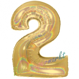 Zahlendekoration Zahl 2, holografisch, Gold, Folienballon Dekozahl ohne Helium
