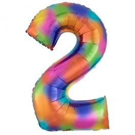 Zahlen Luftballon Zahl 2, Regenbogenfarben, Ballon aus Folie, Dekozahl ohne Helium