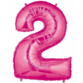 Zahlendekoration Zahl 2, Rosa, Großer Luftballon aus Folie, Blau, 1 Meter hoch, Folienballon Dekozahl