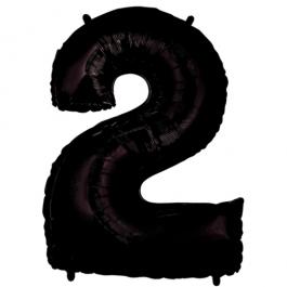 Zahlendekoration Zahl 2, Schwarz, Großer Luftballon aus Folie, Blau, 1 Meter hoch, Folienballon Dekozahl