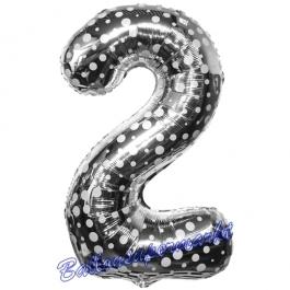 Zahlendekoration Zahl 2, Silber mit Punkten, Zwei, Großer Luftballon aus Folie, 86 cm hoch, Folienballon Dekozahl