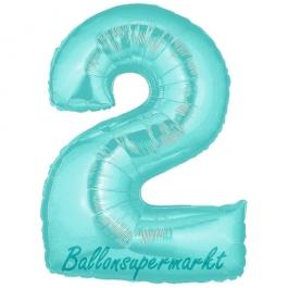 Zahlendekoration Zahl 2, Türkis, Folienballon Dekozahl ohne Helium
