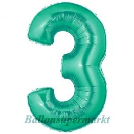 Zahlendekoration Zahl 3, Aquamarin, Folienballon Dekozahl ohne Helium