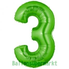 Zahlendekoration Zahl 3, Grün, Folienballon Dekozahl ohne Helium