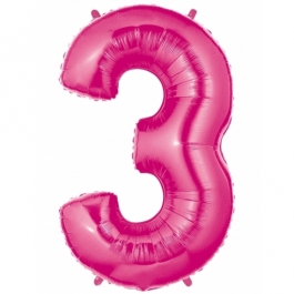Zahlendekoration Zahl 3, Rosa, Großer Luftballon aus Folie, Blau, 1 Meter hoch, Folienballon Dekozahl