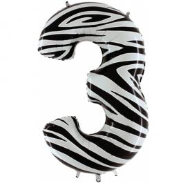 Zahlendekoration Zahl 3, Drei, Großer Luftballon aus Folie, Zebra-Optik, 1 Meter hoch, Folienballon Dekozahl