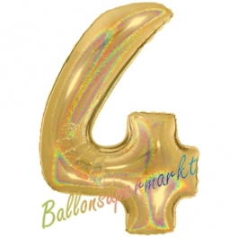 Zahlendekoration Zahl 4, holografisch, Gold, Folienballon Dekozahl ohne Helium