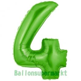Zahlendekoration Zahl 4, Grün, Folienballon Dekozahl ohne Helium