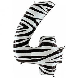 Zahlendekoration Zahl 4, Vier, Großer Luftballon aus Folie, Zebra-Optik, 1 Meter hoch, Folienballon Dekozahl