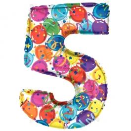 Zahlendekoration Zahl 5, bunt, Großer Luftballon aus Folie, Blau, 1 Meter hoch, Folienballon Dekozahl
