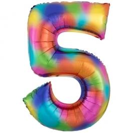 Zahlen Luftballon Zahl 5, Regenbogenfarben, Ballon aus Folie, Dekozahl ohne Helium