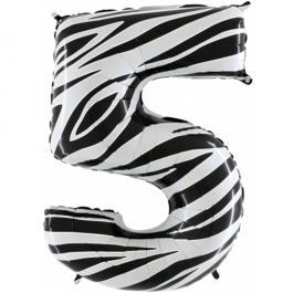 Zahlendekoration Zahl 5, Fünf, Großer Luftballon aus Folie, Zebra-Optik, 1 Meter hoch, Folienballon Dekozahl