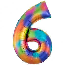Zahlen Luftballon Zahl 6, Regenbogenfarben, Ballon aus Folie, Dekozahl ohne Helium
