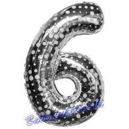 Zahlendekoration Zahl 6, Silber mit Punkten, Sechs, Großer Luftballon aus Folie, 86 cm hoch, Folienballon Dekozahl