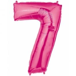 Folienballon Zahl 7, 100 cm, rosa