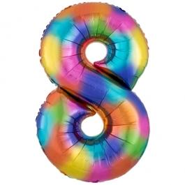 Zahlen Luftballon Zahl 8, Regenbogenfarben, Ballon aus Folie, Dekozahl ohne Helium
