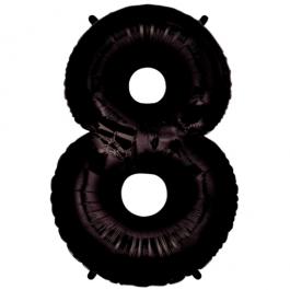 Zahlendekoration Zahl 8, Schwarz, Großer Luftballon aus Folie, Blau, 1 Meter hoch, Folienballon Dekozahl