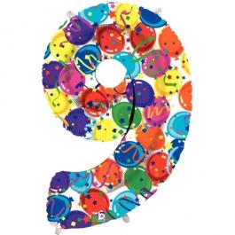 Zahlendekoration Zahl 9, bunt, Großer Luftballon aus Folie, Blau, 1 Meter hoch, Folienballon Dekozahl