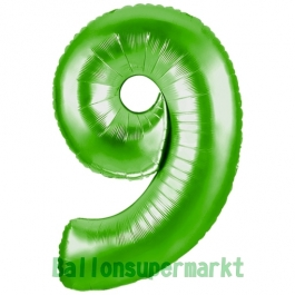 Zahlendekoration Zahl 9, Grün, Folienballon Dekozahl ohne Helium
