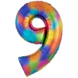 Zahlen Luftballon Zahl 9, Regenbogenfarben, Ballon aus Folie, Dekozahl ohne Helium