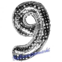 Zahlendekoration Zahl 9, Silber mit Punkten, Neun, Großer Luftballon aus Folie, 86 cm hoch, Folienballon Dekozahl