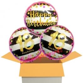 3 Luftballons aus Folie zum 18. Geburtstag, Pink & Gold Milestone Birthday