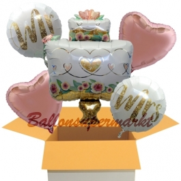 5 Hochzeitsballons, Mr. & Mrs in Love Wedding Cake, inklusive Ballongas Helium