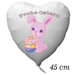 Osterhase mit Osterei, Frohe Ostern, Luftballon aus Folie in Herzform mit Helium